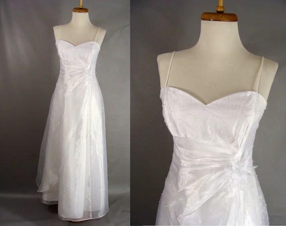 90s White Spaghetti Strap Princess Prom Dress. Beaded