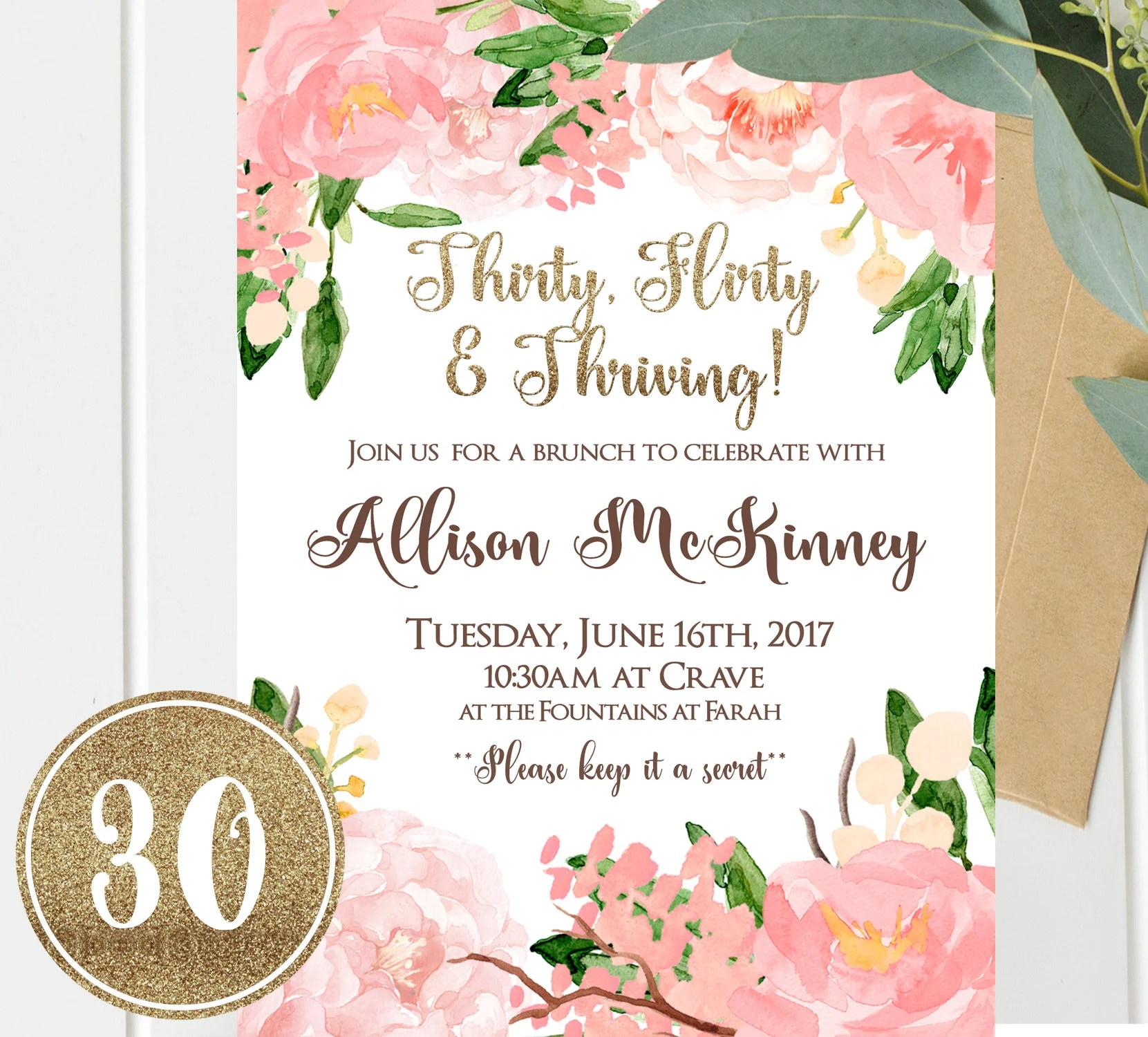 30th birthday invitations thirty flirty and thriving pink and gold floral 30th birthday invitation thirty instant download