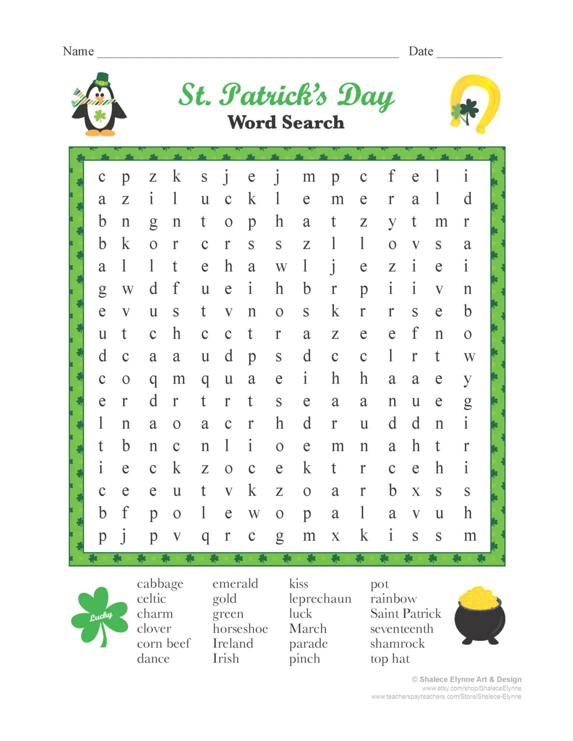St Patrick S Day Word Search Printable Game Instant