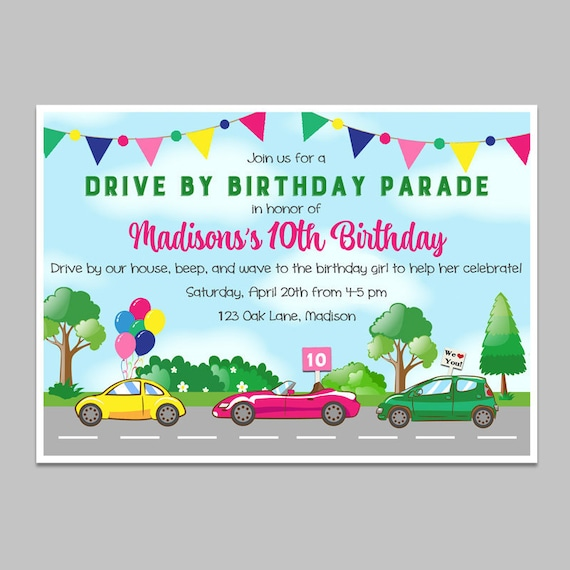 drive by birthday girl parade invitation printable or printed with free shipping social distance quarantine drive by
