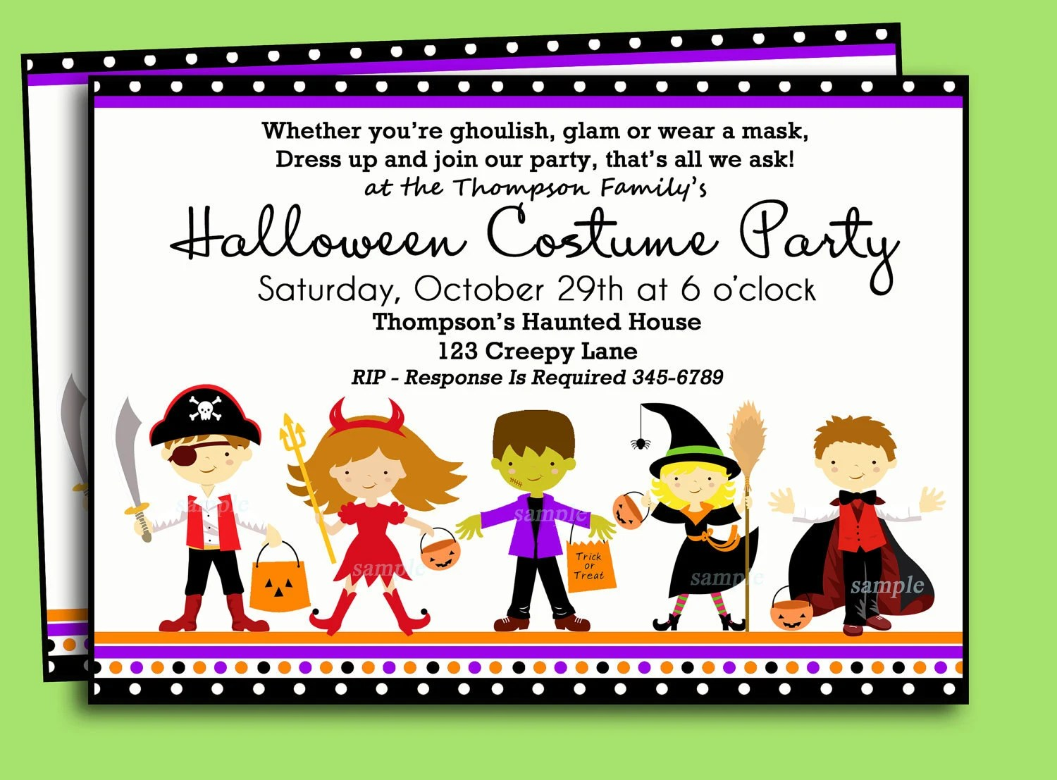 halloween kids costume party invitation printable or printed with free shipping you pick hair color skin tone