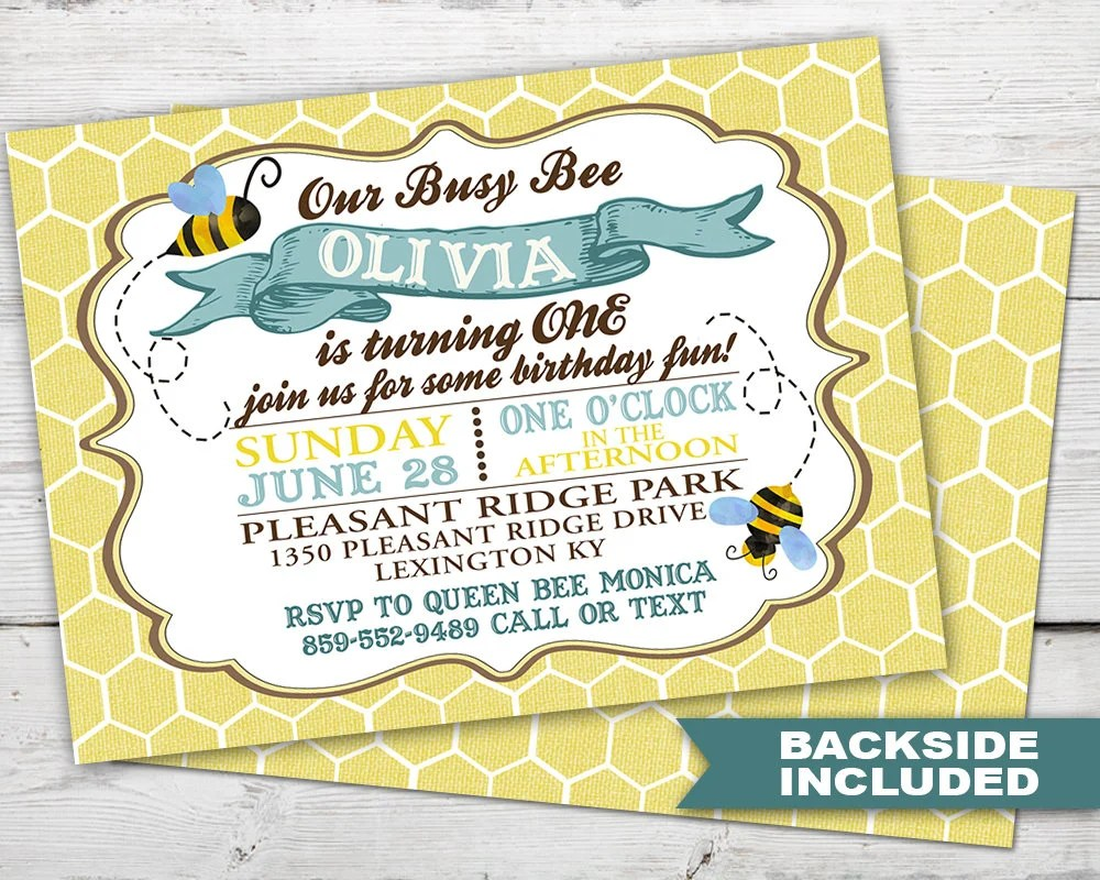busy bee first birthday invitation bee