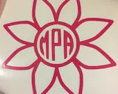 "Flower Monogram Decal for Car Window 5"" x 5"""
