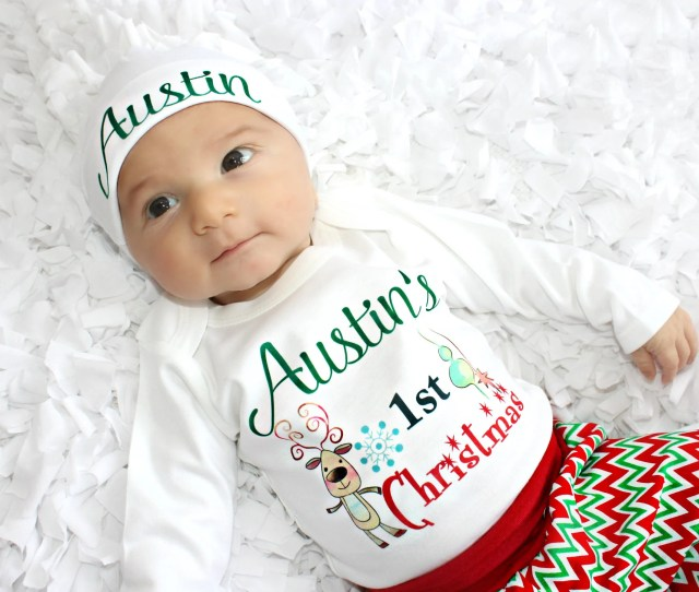 St Christmas Outfit Boy Baby Christmas Shirt First Christmas Photo Holiday Outfit