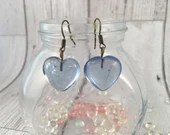 Glass Heart Drop Dangly E...