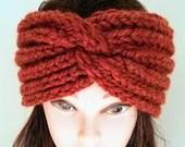 Ready to Ship: Knitted Chunky Turban Headband, Women Wool Turban, Chic Headband, Winter Accessory, Fashion Hat, Gift for Her