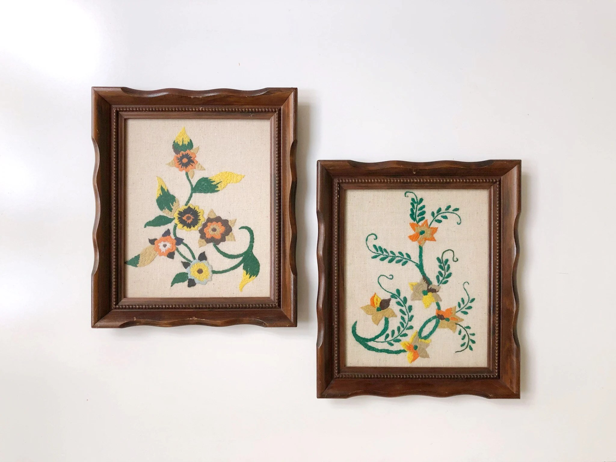Wall Decor   Art   Find me on Instagram for previews of the good     Pair of Framed Vintage Crewel Embroideries