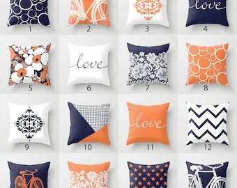 orange blue pillow etsy