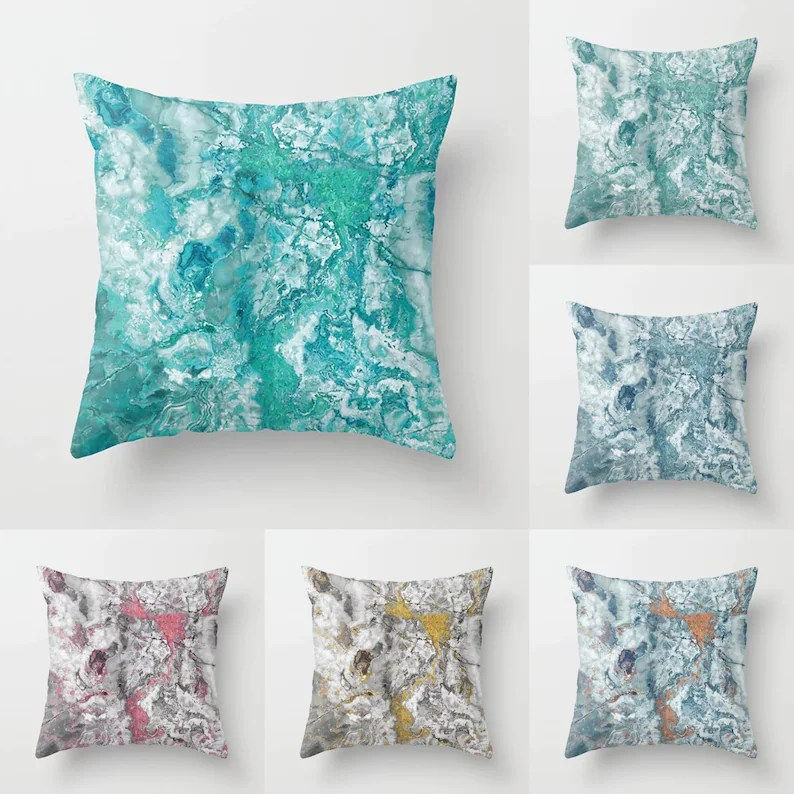 marble throw pillow indoor outdoor cushion cover case aqua blue turquoise teal duck egg mint pink rust orange yellow grey stone texture