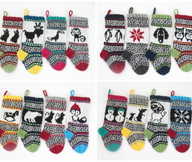 Knitting Patterns For Small Christmas Stockings With Fair Isle Charts With Detailed Instruction For Decorative Santa Sock Pdf Only