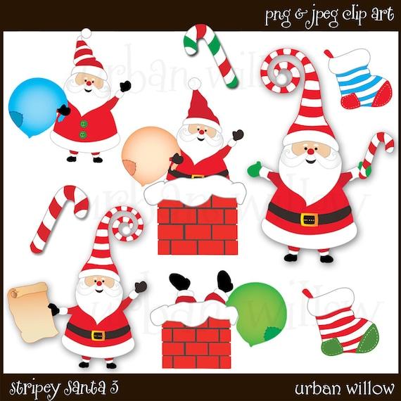 Santa Claus Clipart Father Christmas Clipart Cute Santa Etsy