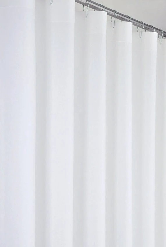 White Linen Cotton Shower Curtain 72 Wide Extra Long Sizes Preshrunk