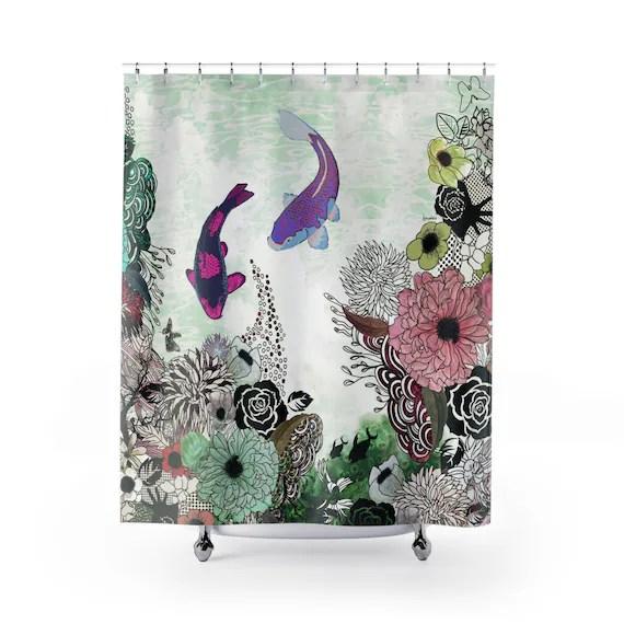 koi fish shower curtain colorful shower curtain bathroom decor boho shower curtain art shower curtain boho bathroom decor