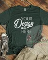 Heather Forest T Shirt Bella Canvas Mockup 3001 Heather Forest Etsy