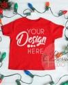 Christmas Kids Shirt Mockup Red Childrens Flat Lay Winter Etsy