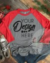 Christmas Raglan Shirt Mockup Next Level 6051 Baseball Tshirt Etsy