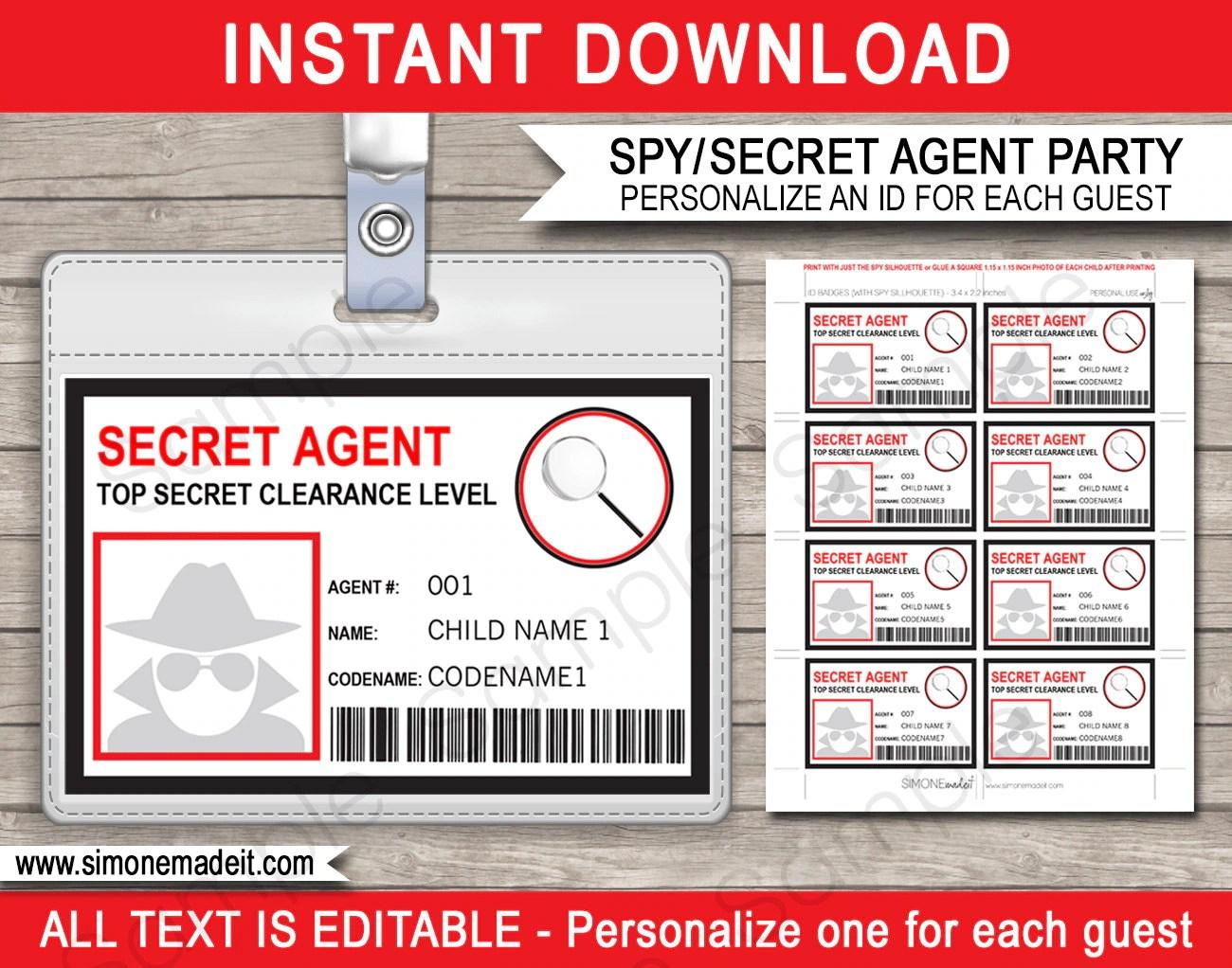 Spy Birthday Party Badge Secret Agent Badge Printable Id