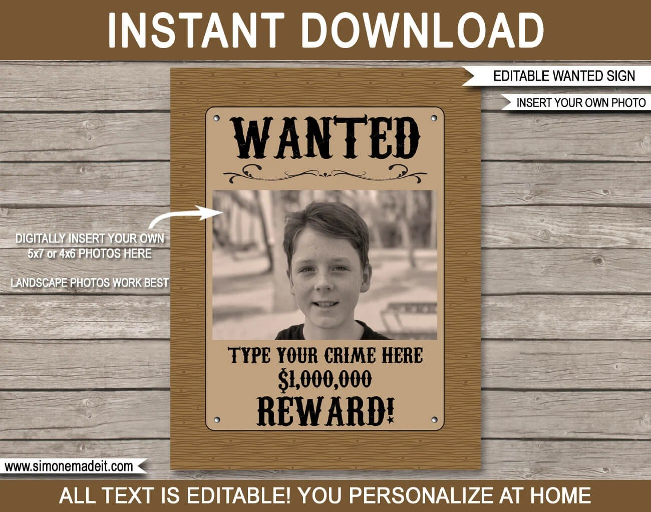 cowboy wanted poster birthday party decorations printable template outlaw reward sign instant download with editable text photo