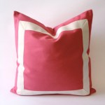 Coral Pink Cotton Canvas Decorative Throw Pillow Cover With Off White Grosgrain Ribbon Border Cushion Covers