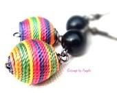 Rainbow Fabric Earrings//...