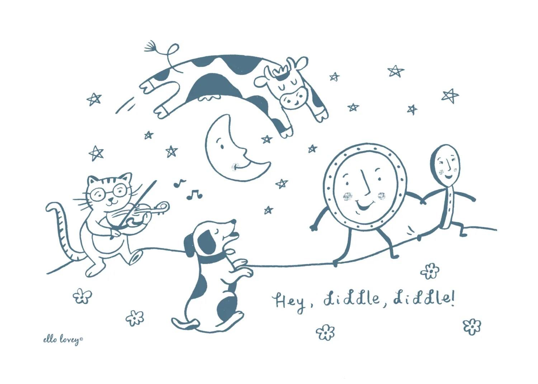 Hey Diddle Diddle 5x7 8x10 11x14 Nursery Rhyme Art Print