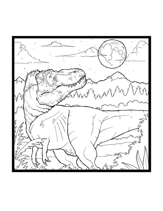 Tyrannosaurus Rex Coloring Page Night Time Hunter Etsy