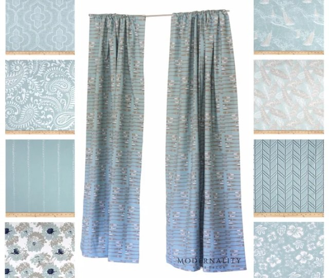 Spa Blue Curtains Drapery Panels Nautical Curtains Floral Etsy