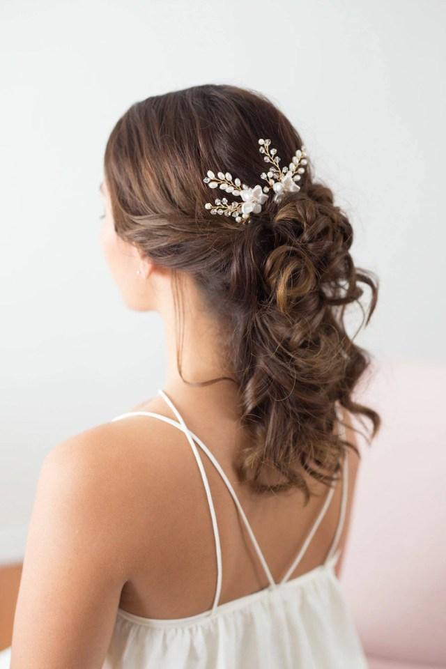 wedding hair accessories, bridal headpiece, gold flower hair pins, pearl bridal hair pins, bridal accessories, hair vine, flower hair pins