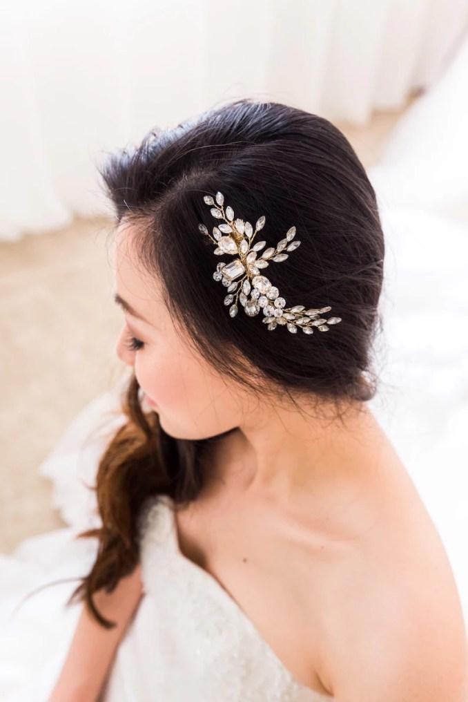 swarovski crystals hair clip - wedding hair pin, bridal hairpiece , crystal  hair comb, gold hair pin, bride hair pin, bride hair accessory