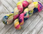In Stock | Hand Dyed Yarn | Indie Dyed | Fingering Weight | Superwash Merino Wool | Speckled | Neon | Fluorescent | Rainbow