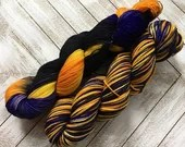 In Stock | Hand Dyed Yarn | Indie Dyed | Fingering Weight | Superwash Merino Wool | Variegated | Orange | Violet | Black