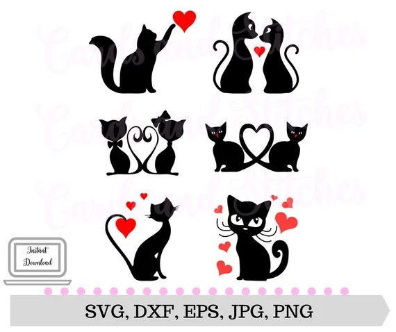 Download Cats SVG Valentine Cats SVG Cat Lover's SVG Digital | Etsy