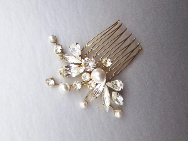 swarovski crystal and pearl bridal hair comb, swarovski bridal