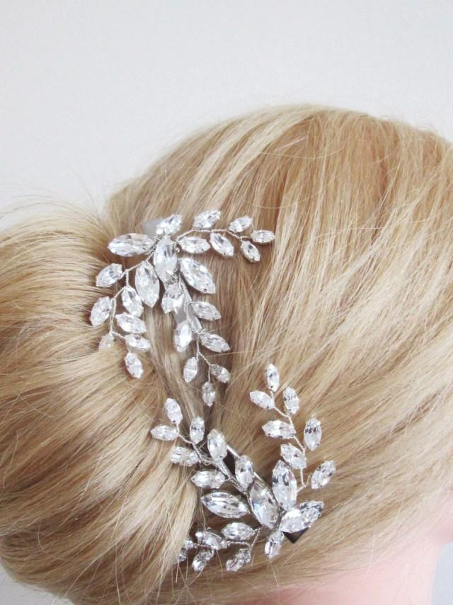 bridal hair pin clip, swarovski crystal hair clip, wedding crystal pin, leaf rhinestone alligator hair clip in gold, silver, rose gold
