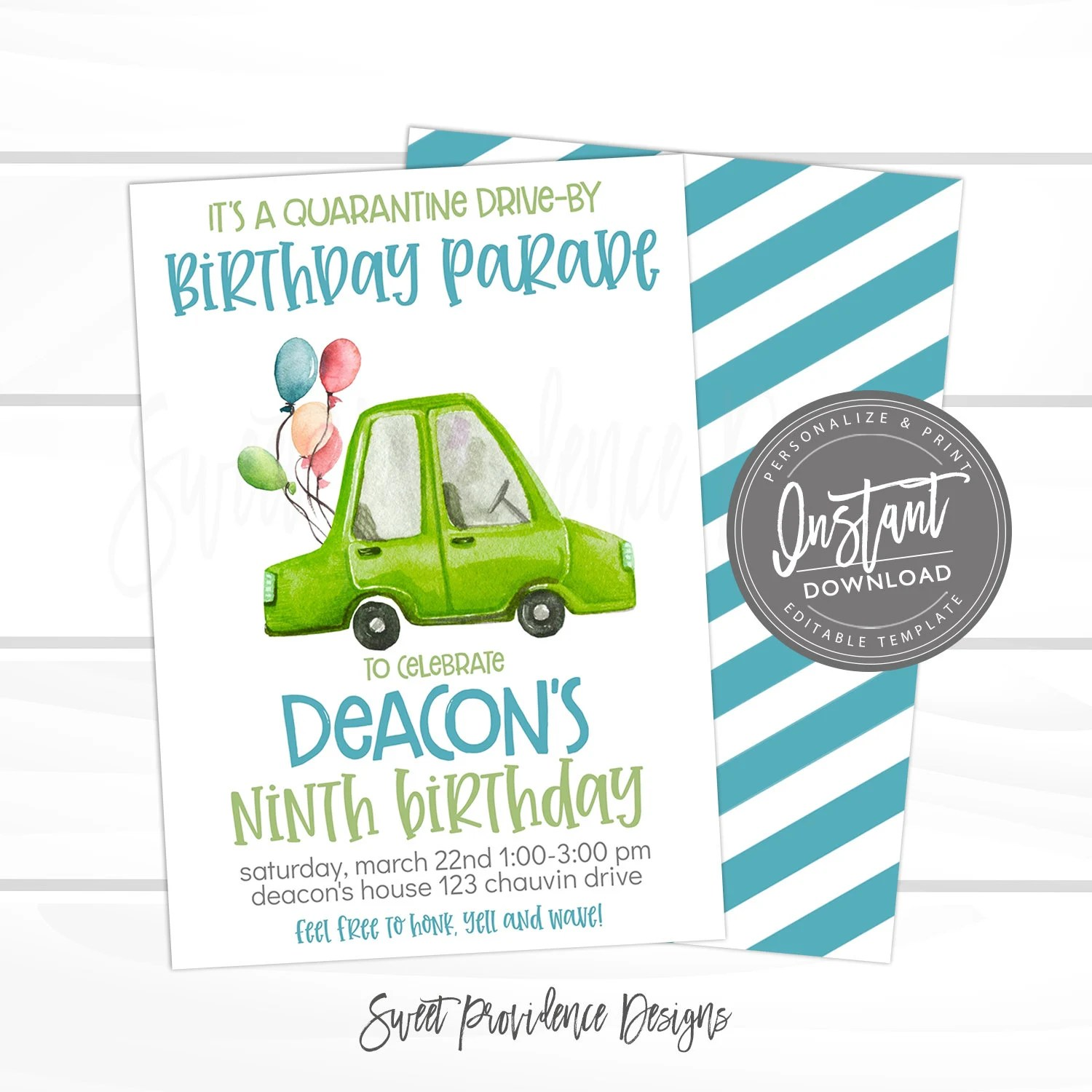 drive by birthday parade invitation virtual birthday party invitation editable digital kid friend party invite template instant download