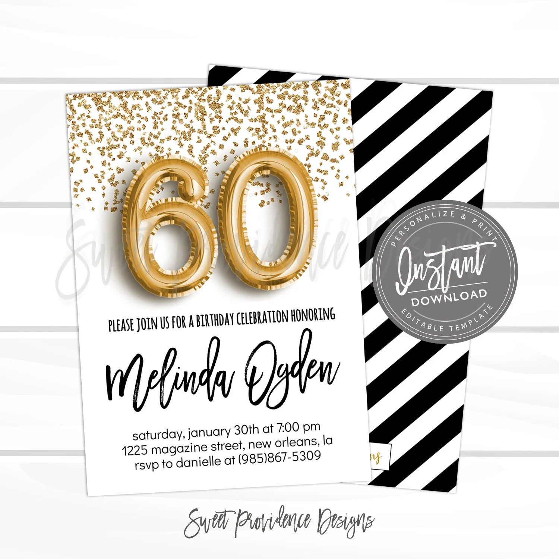 60th birthday invitation editable 60th