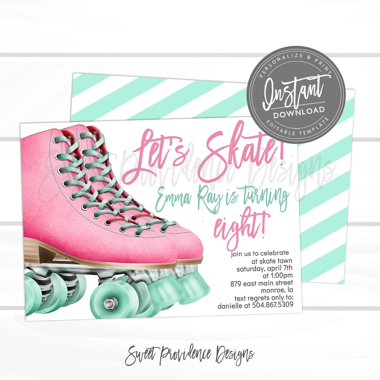 skating invitation skate birthday