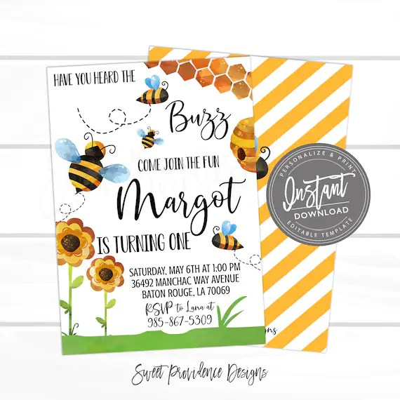 bee birthday invitation editable have