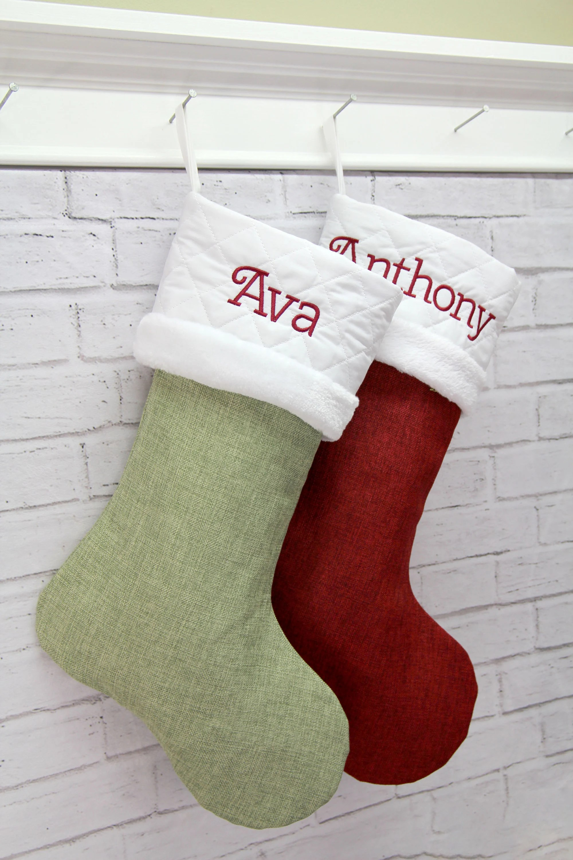 Red & Green Collection Personalized Christmas Stocking  image 1