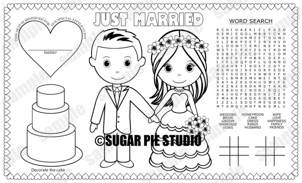 bride and groom coloring pages # 15