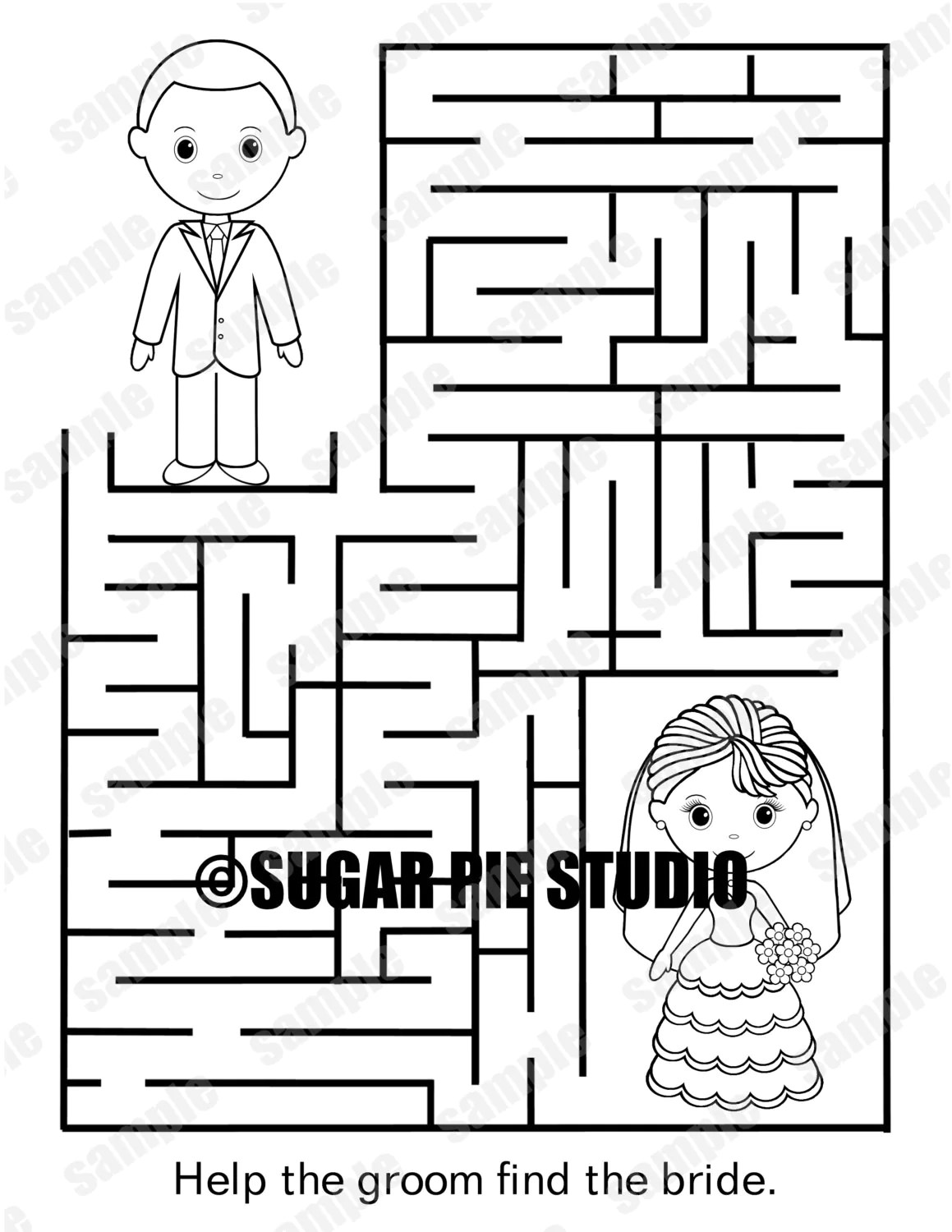 Instant Download Printable Wedding Coloring Page Activity