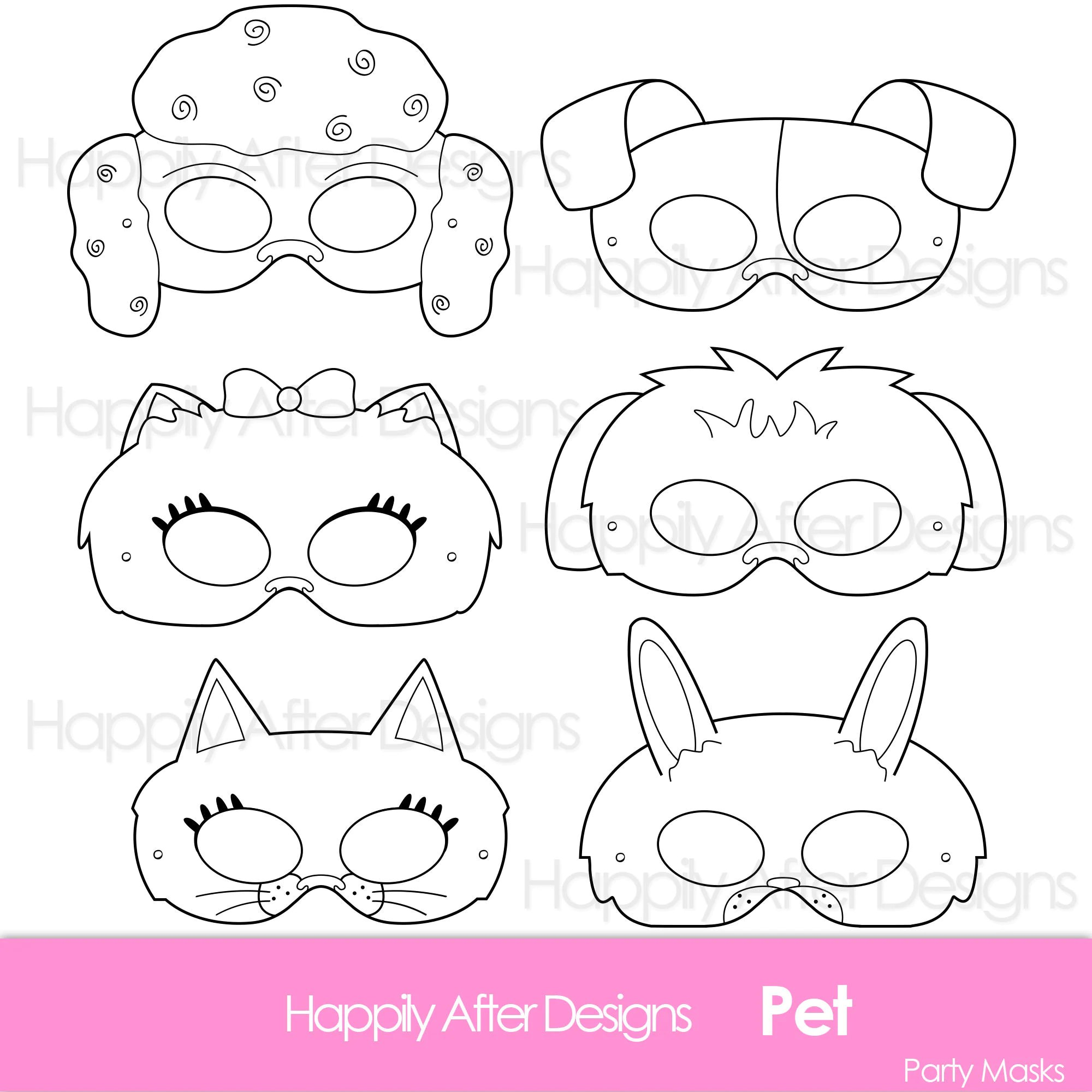 Pets Printable Coloring Masks Cat Mask Dog Mask Printable