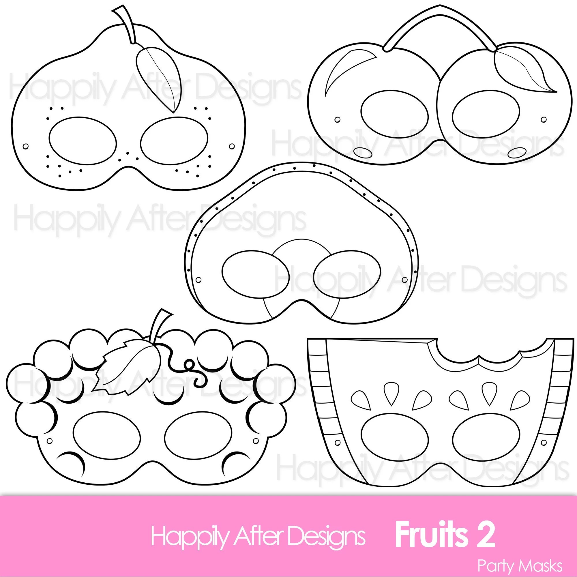 Fruits 2 Printable Coloring Masks Avocado Mask Cherry Mask