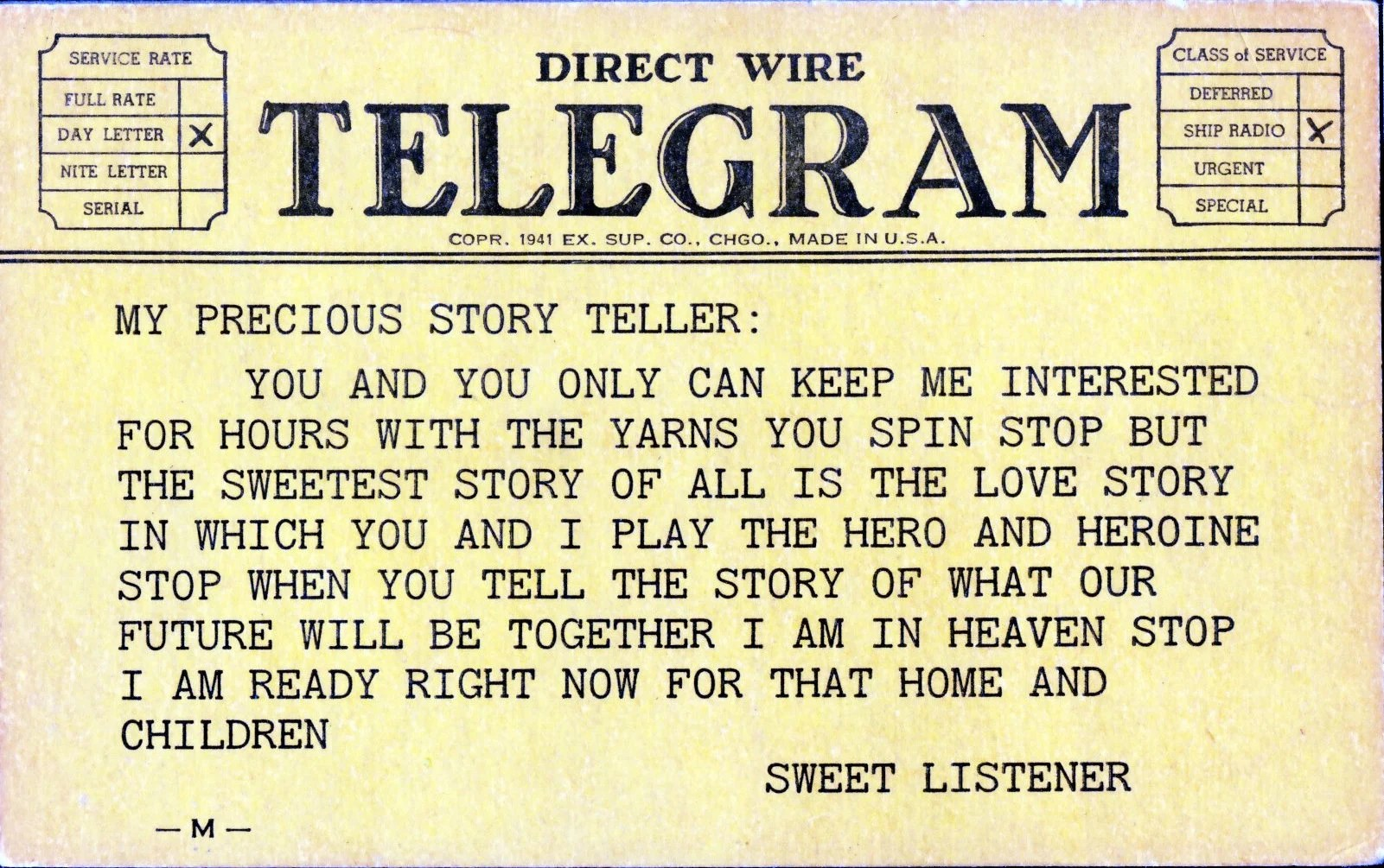 Of course, you can t make a mortgage. Vintage Postcard Telegram To My Precious Story Teller Etsy