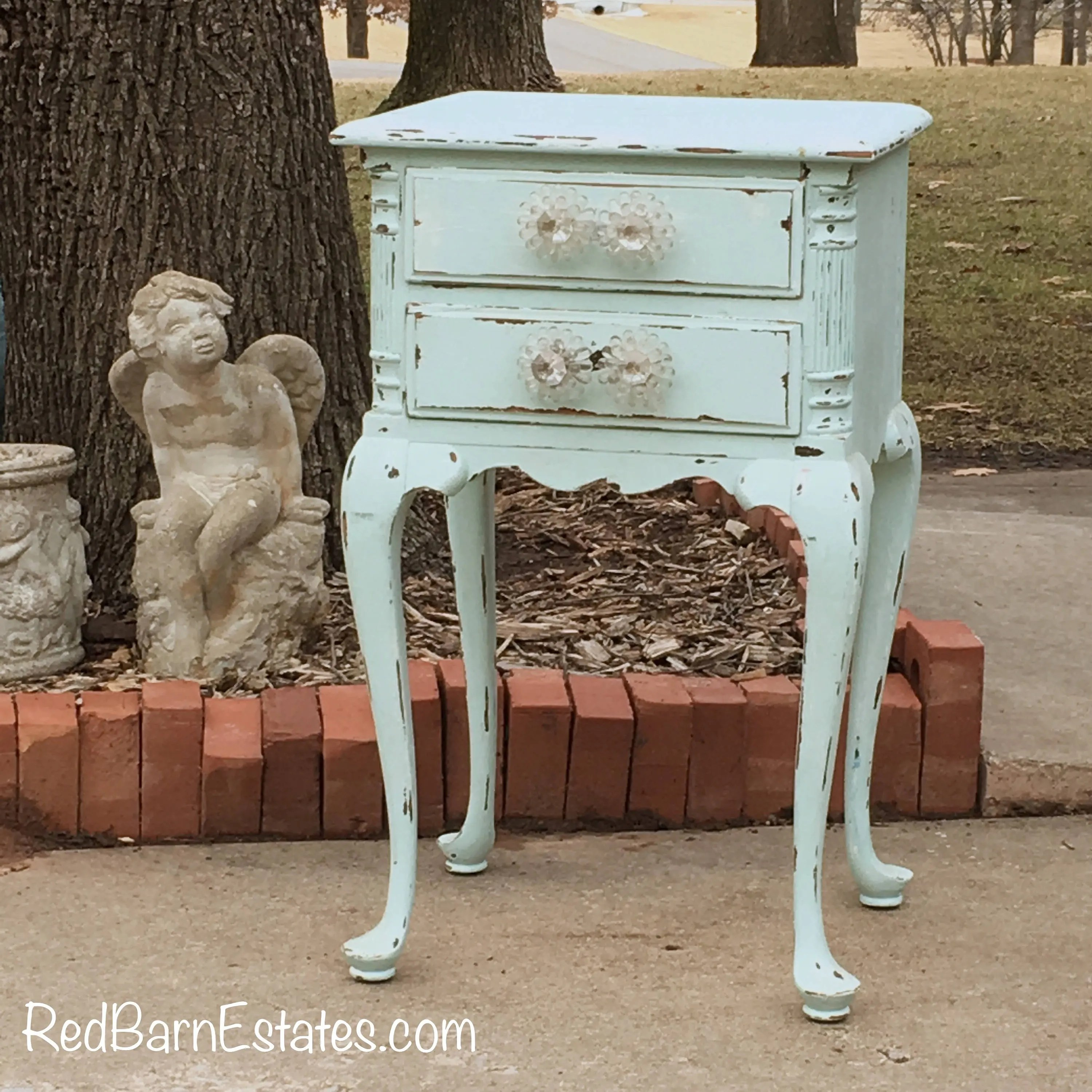 Antique Nightstand Bedside Table Painted Baby Blue Shabby Chic French And Country Farmhouse In Stock Ship In 7 Days