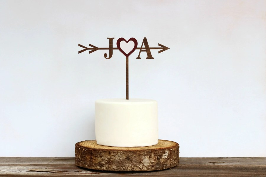 Rustic wedding cake topper   Etsy Rustic Wedding Arrow Cake Topper Custom Cake Topper Bridal Shower Cake  Topper Cake Toppers for Weddings Rustic Wedding Cake Topper