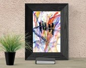 Watercolor abstract cityscape, Printable wall art, Original, city Print, modern minimalist painting, 6x4 7x5 12x8, inches Gloss Matte Paper