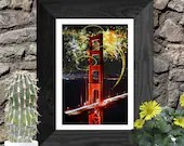 Golden gate bridge - san francisco, Abstract painting, Printable wall art, Original artwork print, travel photography minimalist poster