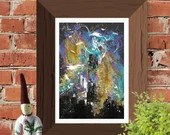 Urban abstract building skyline, Printable Wall Art, original artwork print, Gift Idea painting home mixed media entrance multicoloured