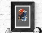Orange and blue abstract ...